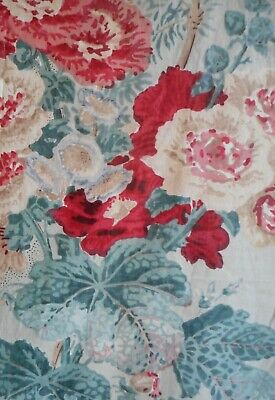 Vintage English Botanical Hollyhock Floral Picotage Chintz Cotton Fabric ~ Coral