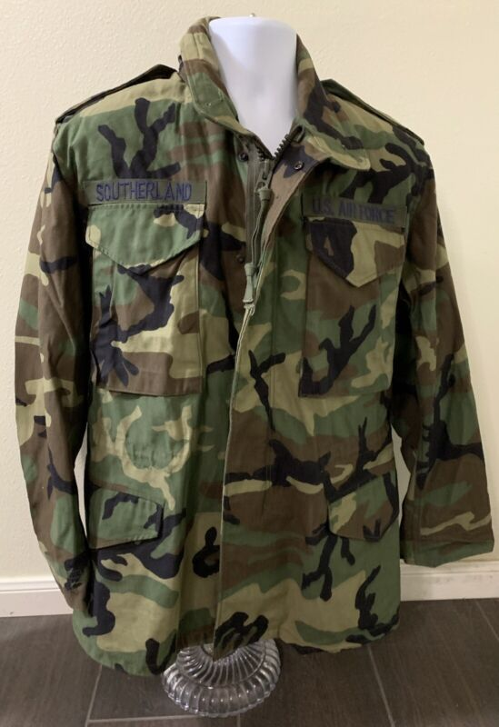 US Military Full Zip Cold Weather Field Coat Camouflage Men Size Small Regular