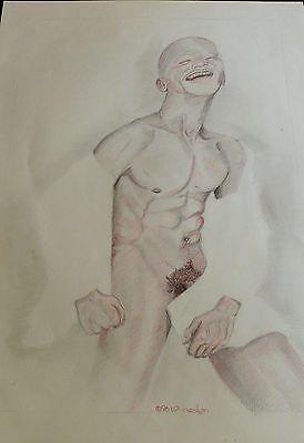 Original vom Künstler * Colorierte Graphit- Zeichnung, sig.  V.P & datiert.