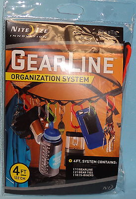 GEAR LINE TENT CANOPY HANGING SYSTEM & 10 SBINER CLIPS CAMPING HUNTING TENT NEW