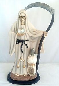 ... 16 Inch Holy Death w/ Owl Statue La Santisima Santa Muerte Grim Reaper