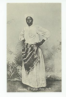 Sao Vicente Woman—Cape Verde—Cabo ANTIQUE Native Costume Dress 1910s