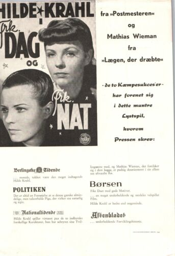 Das andere Ich Hilde Krahl Mathias Wieman 1941 1 Page Danish Movie Press Release