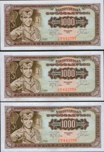 Yugoslavia 3 X 1000 Dinars 1963. P-75. UNC.