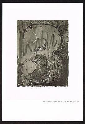 1960s Vintage Jasper Johns Number 3 Three Offset Litho Miniature Promo Art Print