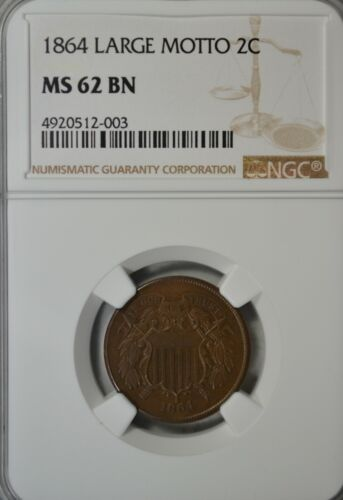 1864 2 cent, NGC MS62 BN