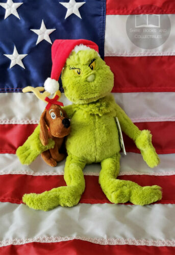 """NEW 15"""" Inch Grinch & Max Plush Doll Dr Seuss Christmas NWT Officially Licensed"""