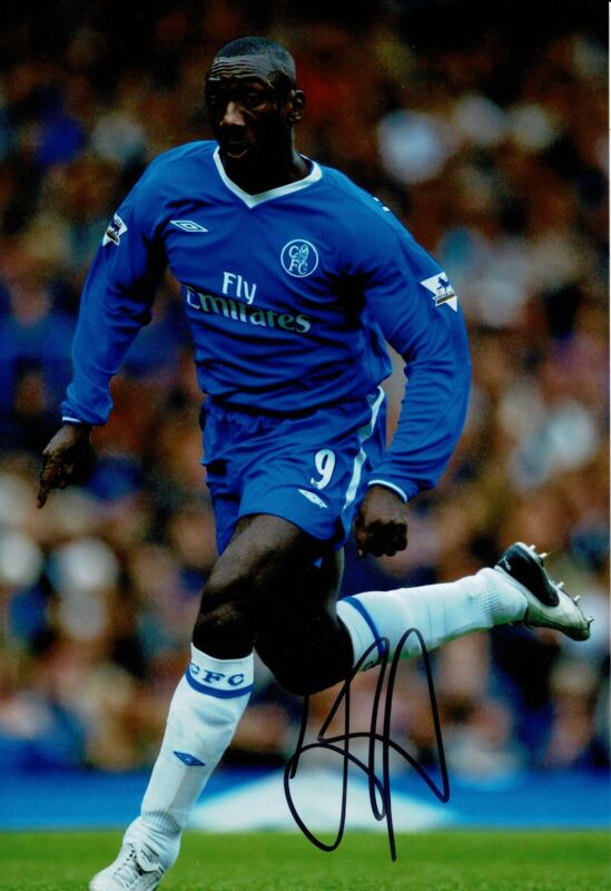 Jimmy Floyd Hasselbaink Signed 12X8 Chelsea F.C. Photo AFTAL COA (9032)