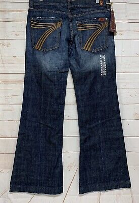 "7 For All Mankind Dojo (7 Seven for All Mankind ""DOJO"" Medium Wash Wide Leg Jeans Womens Size 31 X 34)"