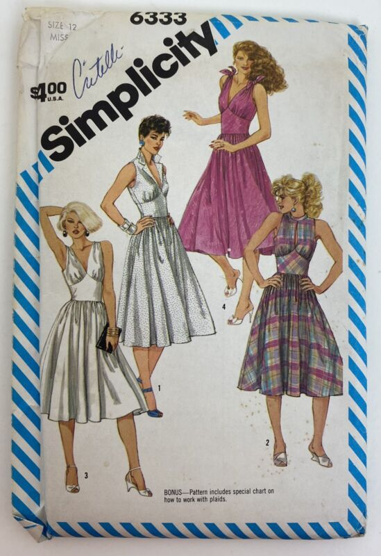 Vintage Simplicity Pattern 6333 Fitted Dress Miss Size 12 Uncut