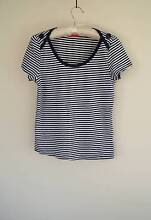 Revival: navy and white striped top with button detail - size 12 Hobart CBD Hobart City Preview