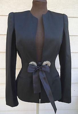 NEW $3095 Alexander McQueen 40 4 Black Wool Velvet-Insert Ribbon-Detail Jacket