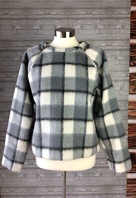 Abercrombie & Fitch Black Grey White Plaid Brushed Sweater w/ Zippers M