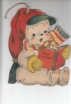 Vintage 1952 large Christmas snowman paper decoration