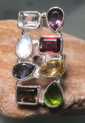 925 sterling silver cut moonstone/peridot/iolite/crystal ring UK O-O½/US 7.5.  Iolite Moonstone Ring