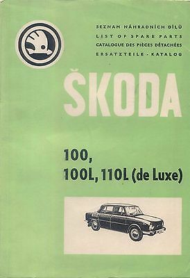 Skoda 100, 100L, 110L (de Luxe) Original Spare Parts Book 1970-71  Multilanguage