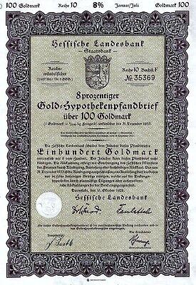 Hessische Landesbank Darmstadt,  8% Gold-Hypotheken-Pfandbr. R10, 1928 (100 GM)