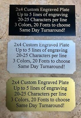 Custom Engraved Brass Color 2x4 Name Plate Plaque Art Label Tag Gift Trophy