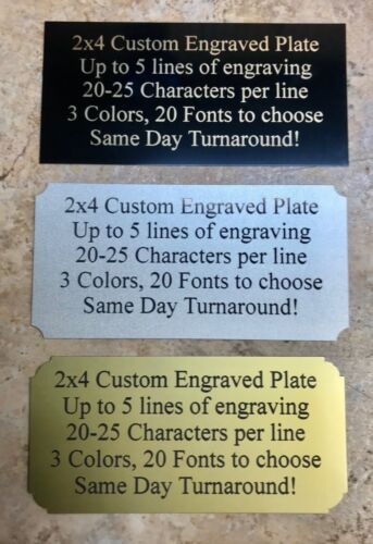 """Custom Engraved BRASS Color  2""""x4"""" Name Plate Plaque Art Label Tag Gift Trophy"""