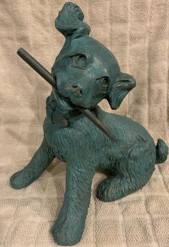 Dog Playful Puppy Statue Figurine Patina With Stick
