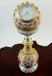VTG Marble / Soapstone Handmade Showpiece Table Pedestal Clock Ethnic Art Design