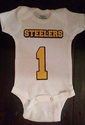 Sport Baby Onesie - Baby Newborn PITTSBURGH STEELERS #1 Jersey Onesie - Misc Sizes Available