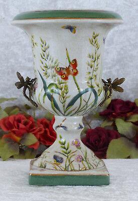 Porzellan Vase Bronze Prunkvase Pokal Blumenvase Tischvase Craquele Prunkgefäß