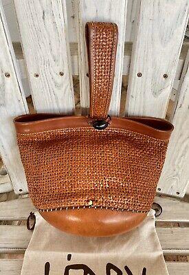 Henry Beguelin Cuir Collector Woven Beaded Wristlet Bag