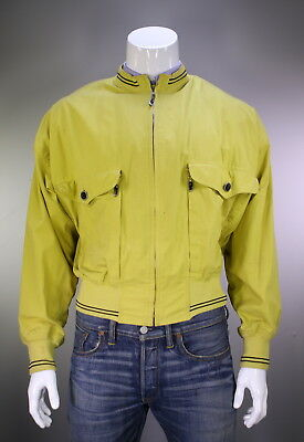 GIANNI VERSACE  Vintage 90's Yellow Zip Front Cotton Bomber Jacket~ Large