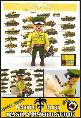 ROMMEL + POSTAL Playmobil Custom WW2 AFRIKA KORPS Ejército ALEMAN SOLDADO tren