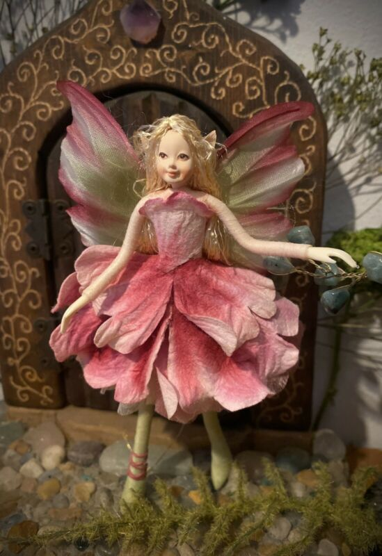 """Poseable Handmade Flower Fairy Collectible Doll """"Peony"""""""
