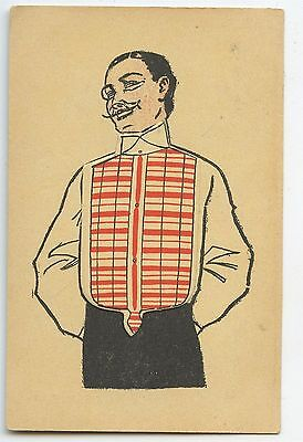 Mechanical French Fashion gemtleman's shirts original old 1910s postcard