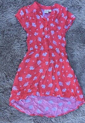 Childrens Place Girls size 5 Coral Floral High/Low Short Sleeve Dress