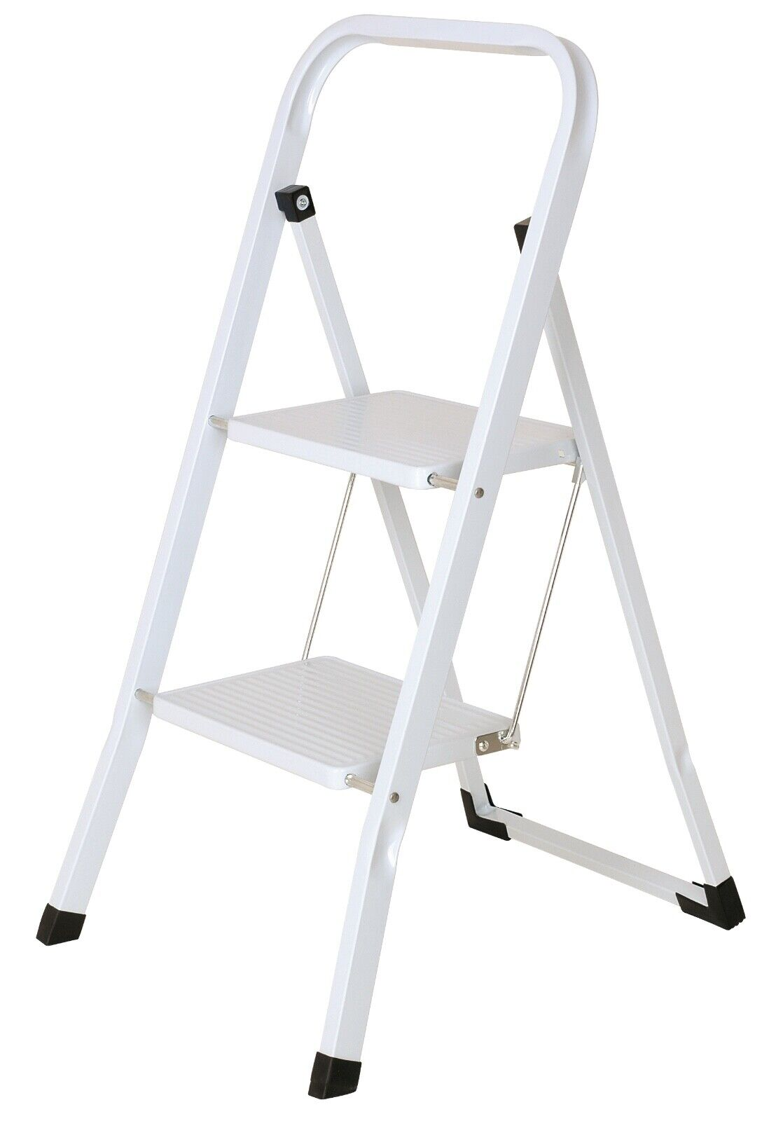 Foldable 2 Step Ladder Stepladder Non Slip Tread Safety Steel Step Home Kitchen