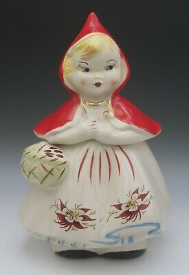 RARE VINTAGE HULL LITTLE RED RIDING HOOD COOKIE JAR POINSETTIA CLOSED BASKET