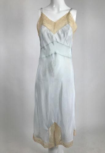 1930s 1940s Blue Rayon Bias Cut Lace Trimmed Slip Vintage 32