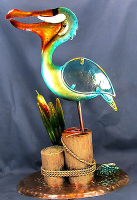 Pelican on the Harbor Pilings Metal & Glass Figurine Sealife Decor