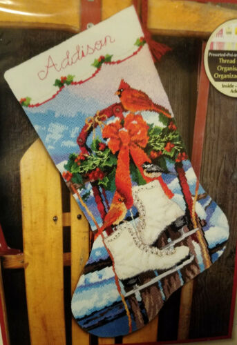 Dimensions 71-09152 ICE SKATES STOCKING Needlepoint Stocking Kit ~Sealed