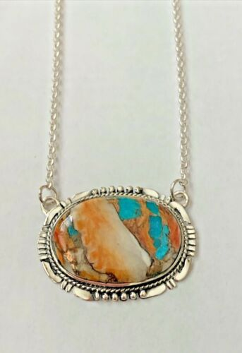 3.50 CTW Spiny  Turquoise Necklace 16 -18 in 925 Sterling silver 12.40 g