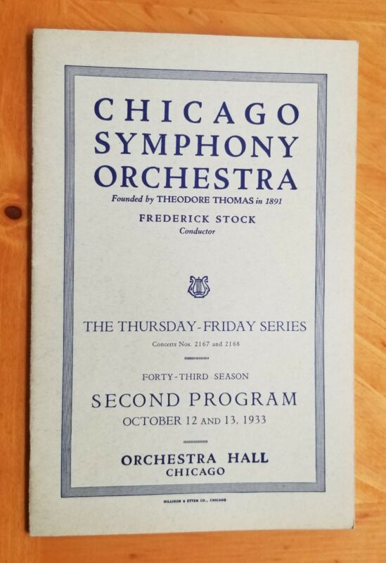 1933  Chicago Theater Symphony Orchestra  Program Rare 24 pg