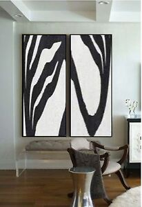 Modern Abstract Double Painting Large Canvas Size 2 Pieces