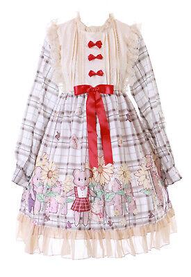 JSK-69 Beige Cuadros Teddy Oso Jardín Flores Vestido Pastel Goth Lolita Cosplay