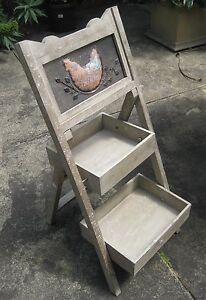 French Rustic Timber Storage Ladder Shelf Shelves Wooden Shabby Chic Unit