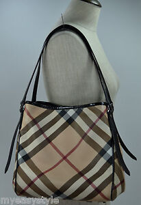 Burberry-Nova-Check-Tote-Shoulder-Bag-Patent-Leather-Handbag-with-Pouch