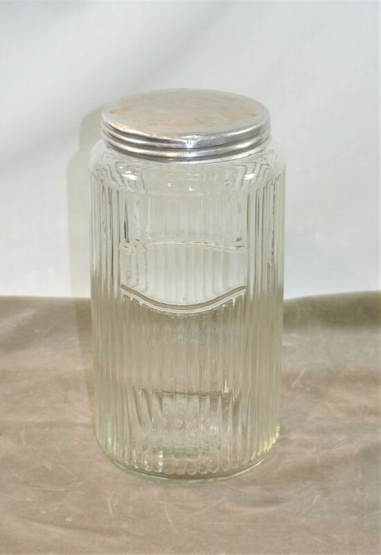 Vintage CANISTER Ribbed Clear Glass with Metal Lid for Kitchen Hoosier
