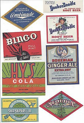 LOT OF 18 DIFFERENT OAKLAND CALIFORNIA SODA BOTTLE LABEL YANKEE DOODLE NAPA ROCK