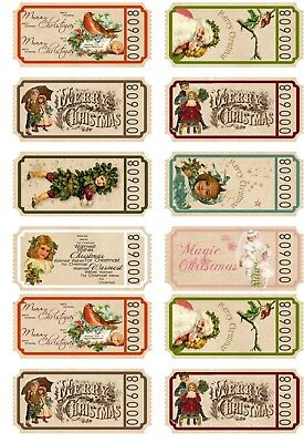 Christmas 20 gift party tickets shiny card stock - Party Tickets