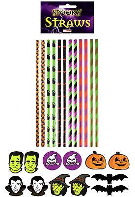 12 Halloween Papier Strohhalme - Gruselig Party Geschirr Trinken Leuchtend Neon