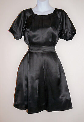 (Sale-Black Pure Silk Satin Party Dress-Puff Sleeves-Pleated Front-Tie Waist-12 )