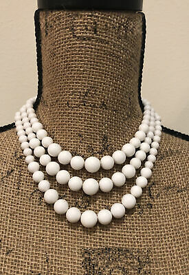 60s -70s Jewelry – Necklaces, Earrings, Rings, Bracelets Vintage 1960's / 1970's Women's White 3 Strand White Bead Necklace $17.99 AT vintagedancer.com